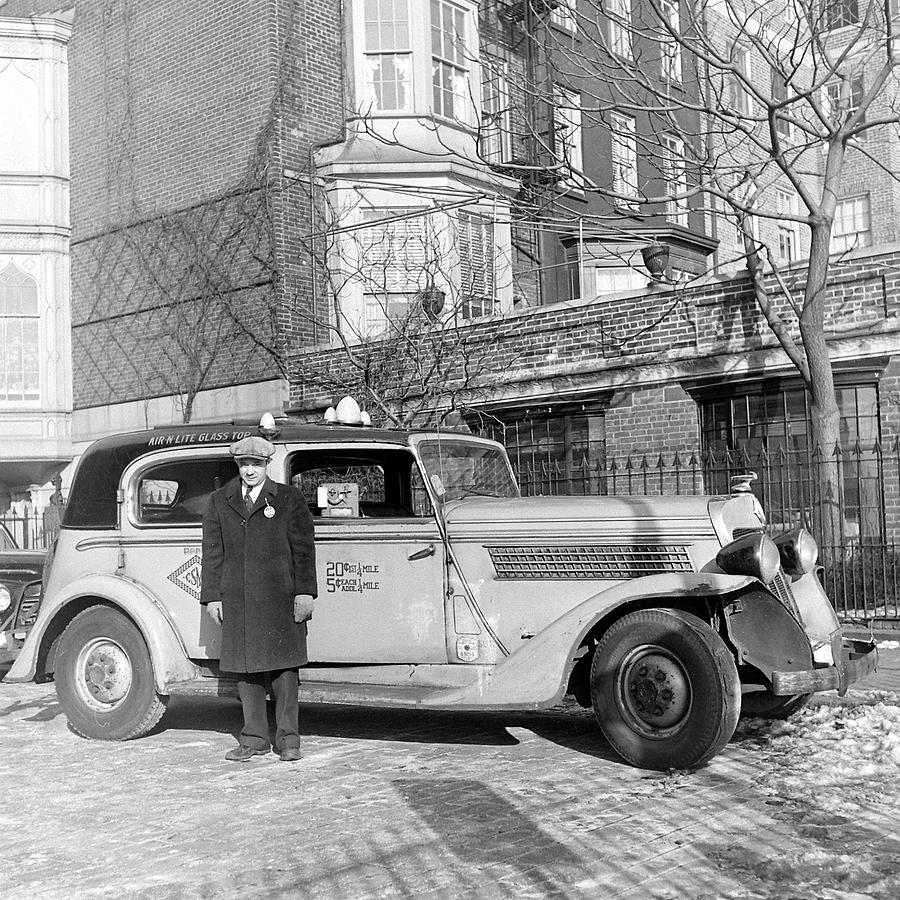 Driver Standing In Front Of His Taxi Photograph by William C. Shrout