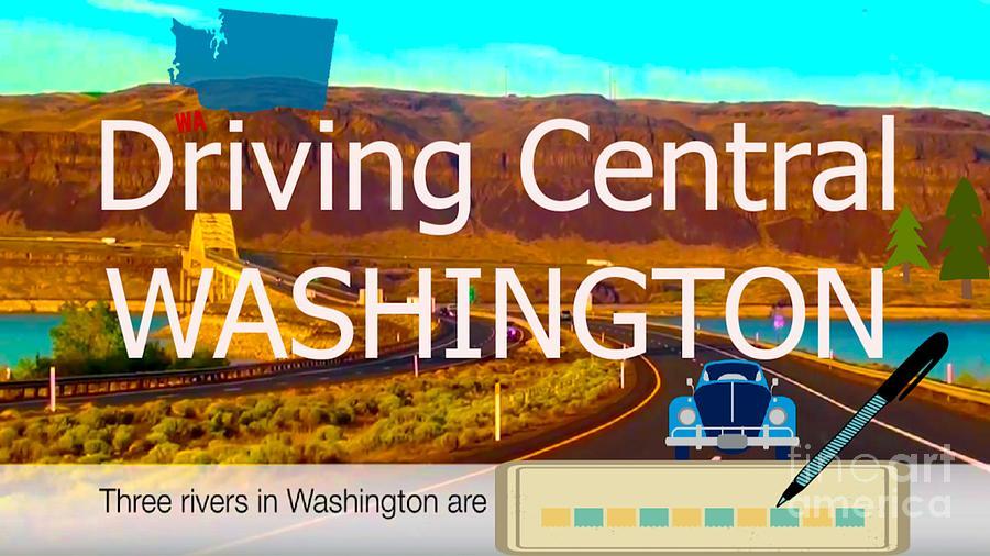 Landscape Digital Art - Driving Central Washington by Karen Francis