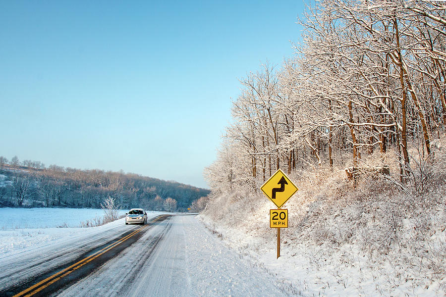 Rural Photograph - Driving On Dangerous Winter Roads by Todd Klassy
