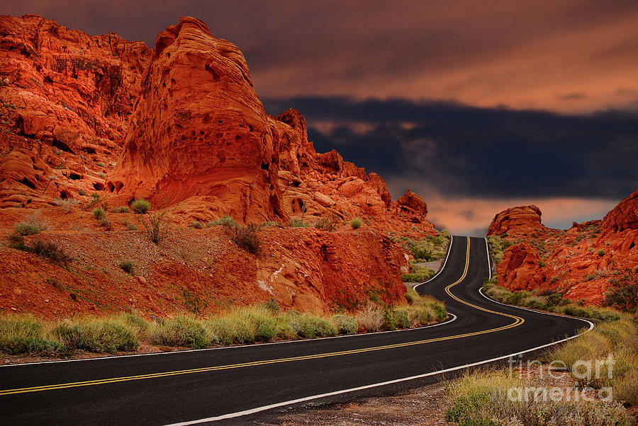 Driving through the Valley Of Fire in Nevada by Les Palenik