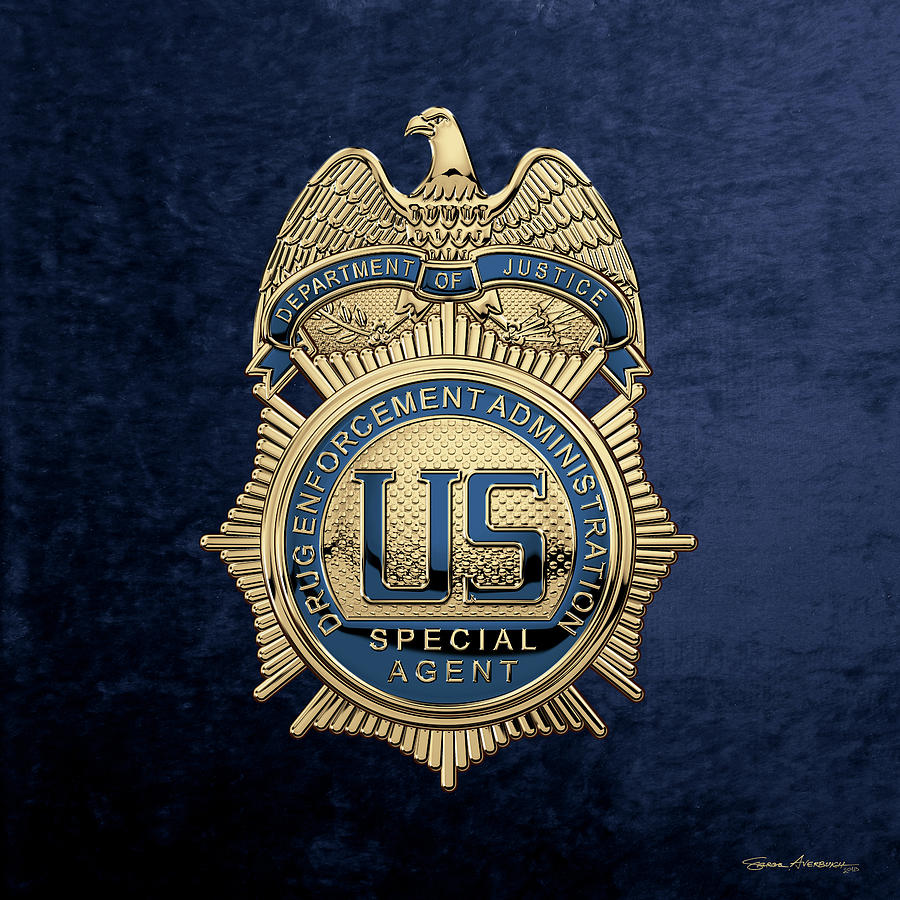 Police Digital Art - Drug Enforcement Administration -  D E A  Special Agent Badge Over Blue Velvet by Serge Averbukh