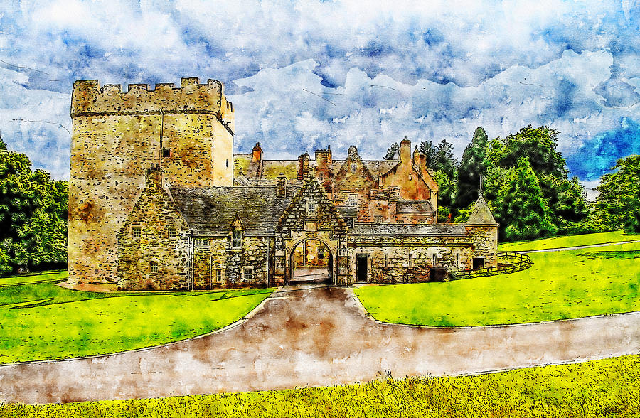 Drum castle watercolor drawing by Hasan Ahmed