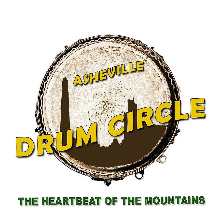 Asheville Digital Art - Drum Circle Logo by John Haldane