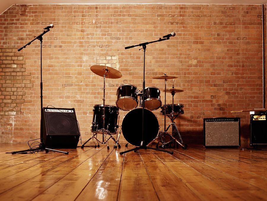 Drum Kit, Microphones And Loudspeakers Photograph by Digital Vision.