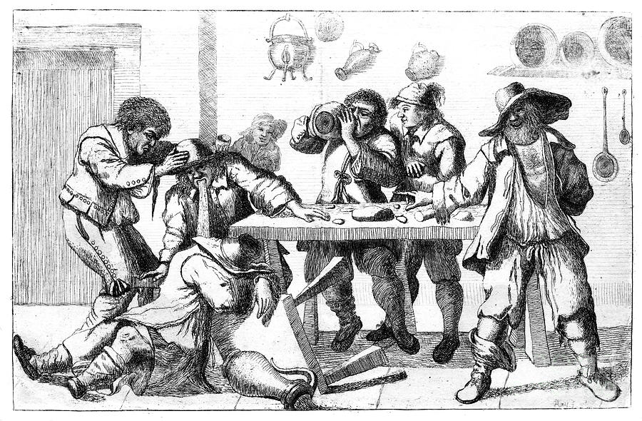 Drunken Figures, C17th Century Drawing by Print Collector