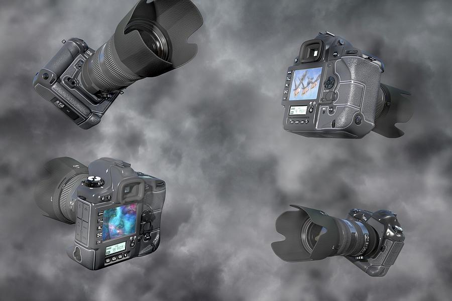Camera Digital Art - Dslr Cameras by Betsy Knapp