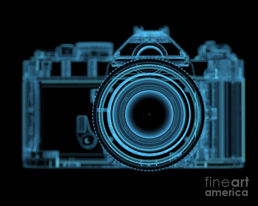 Eyesight Digital Art - Dslr Slr Camera 3d Xray Blue Transparent by X-ray Pictures