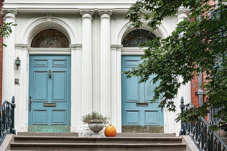 Dual Blue Doors by Sharon Popek
