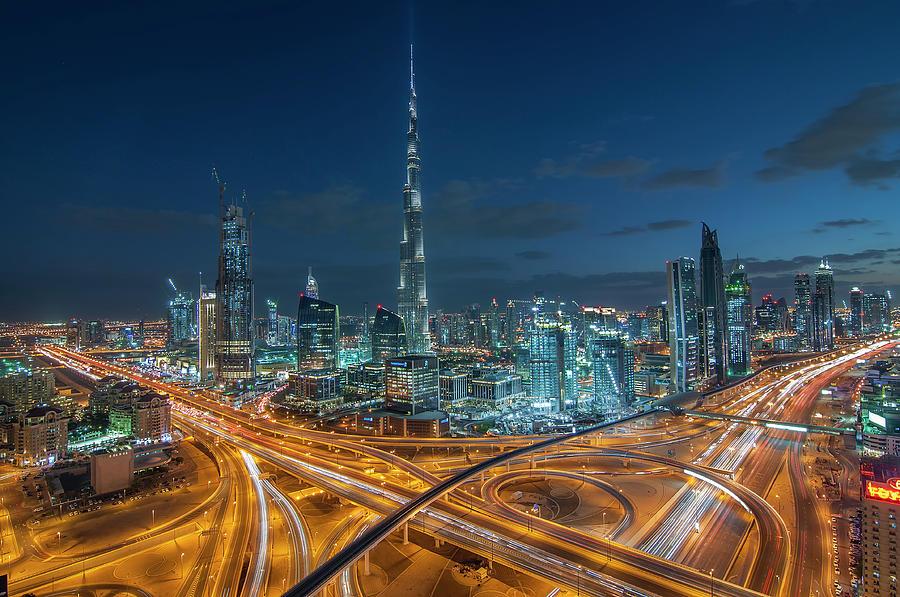 Dubai Downtown Area With Burj Khalifa Photograph by Umar Shariff Photography
