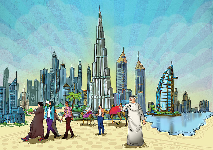 Painting Painting - Dubai Illustration  by Arttantra