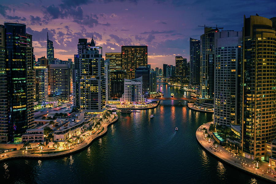 Dubai Marina At Dusk Photograph