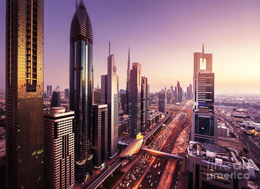 Sunrise Photograph - Dubai Skyline In Sunset Time, United by Iakov Kalinin