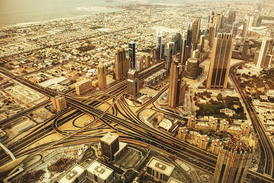 Dubai Skyline With Downtown Aerial View Photograph by Franckreporter