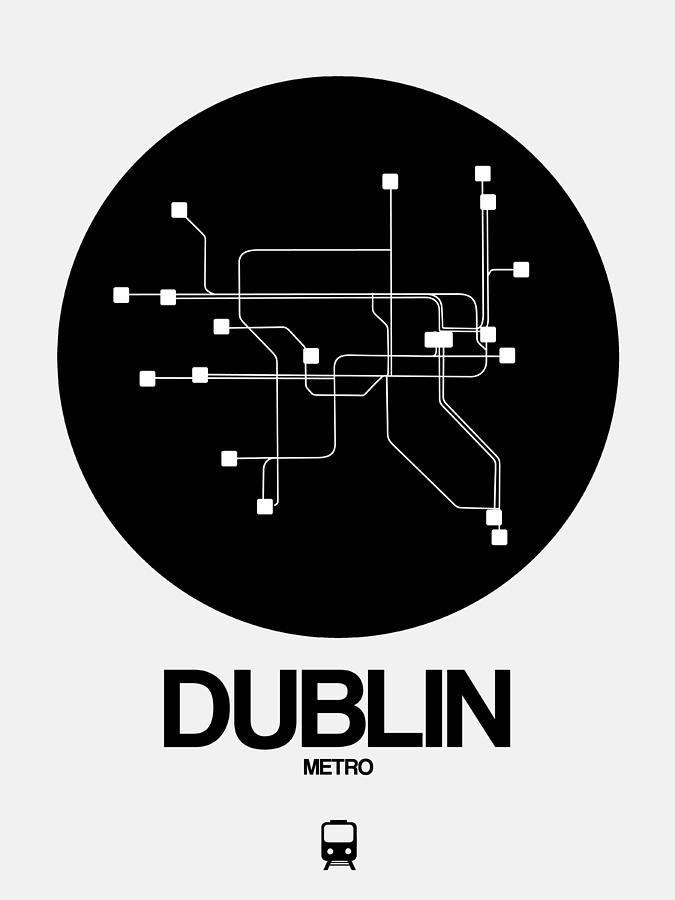 Dublin Digital Art - Dublin Black Subway Map by Naxart Studio
