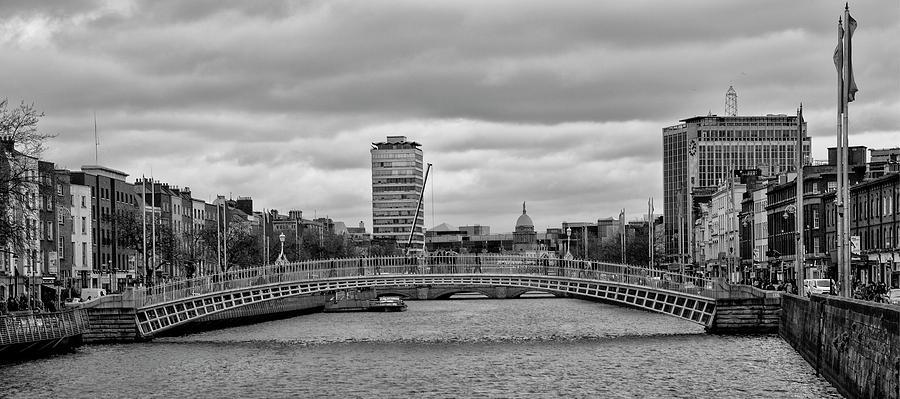 Black And White Photograph - Dublin Ireland - Ha Penny Bridge In Black And White by Bill Cannon