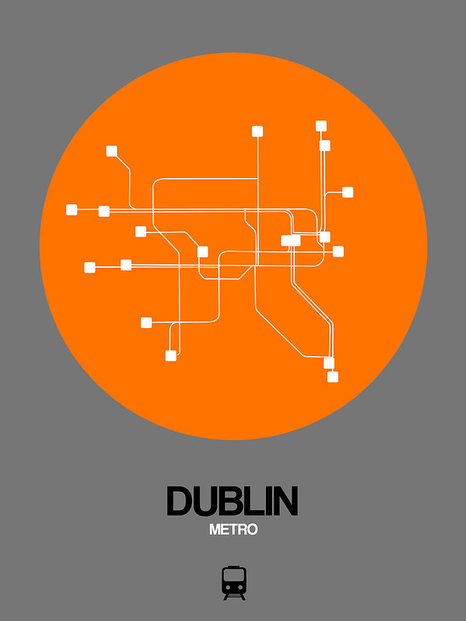 Dublin Digital Art - Dublin Orange Subway Map by Naxart Studio