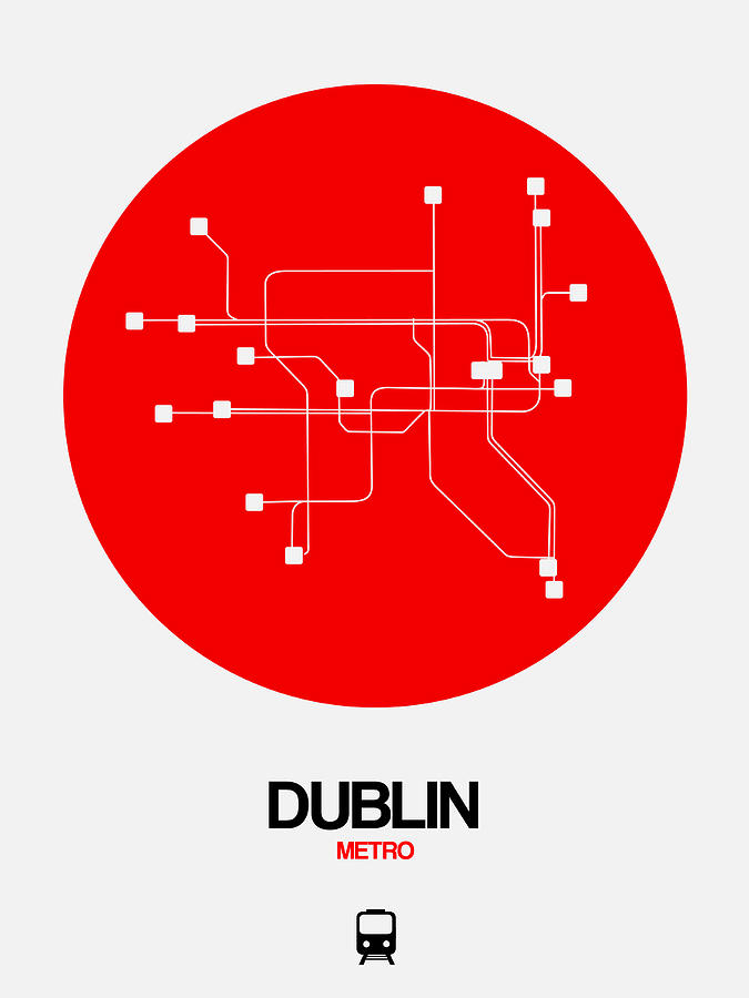 Dublin Digital Art - Dublin Red Subway Map by Naxart Studio