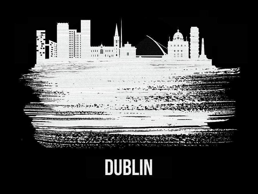 Dublin Mixed Media - Dublin Skyline Brush Stroke White by Naxart Studio