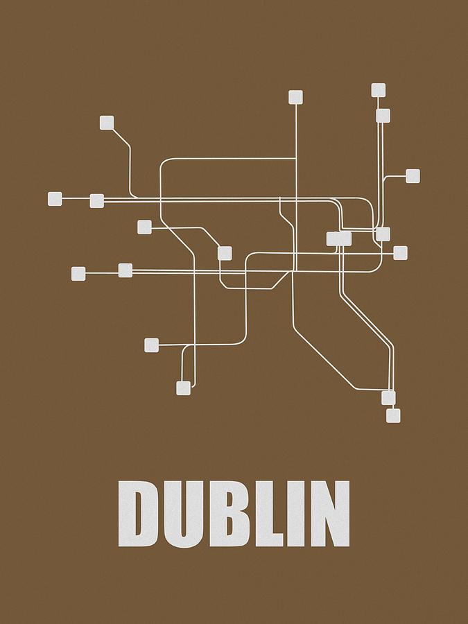 Dublin Digital Art - Dublin Subway Map 2 by Naxart Studio