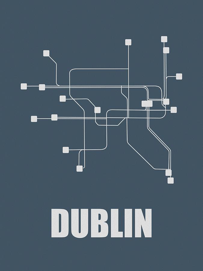 Dublin Digital Art - Dublin Subway Map by Naxart Studio