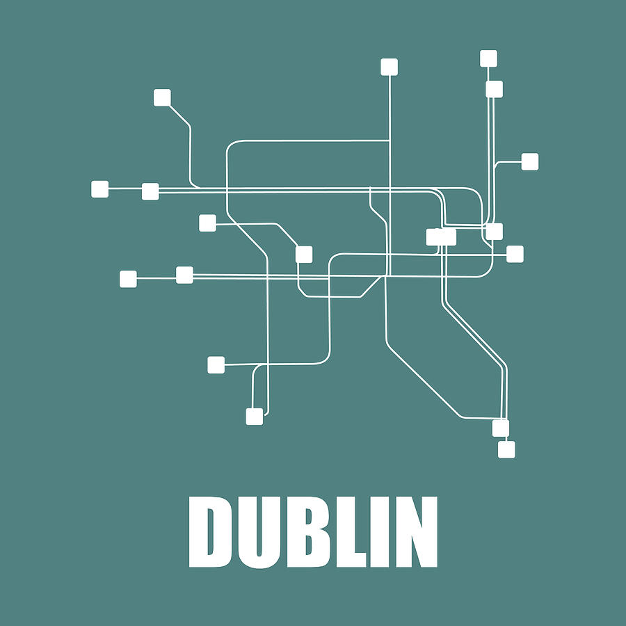 Dublin Digital Art - Dublin Teal Subway Map by Naxart Studio