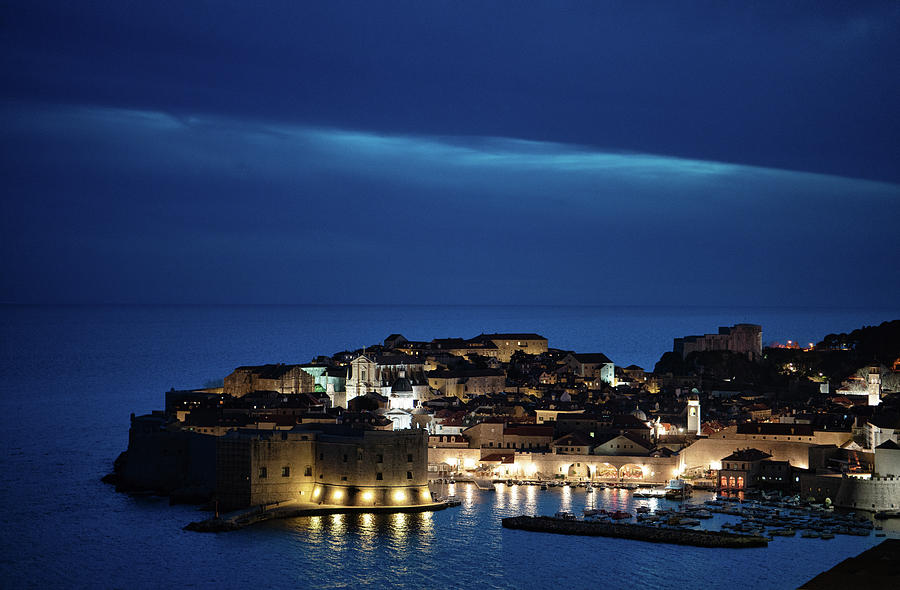 Adriatic Photograph - Dubrovnik Old Town At Night by Milan Ljubisavljevic