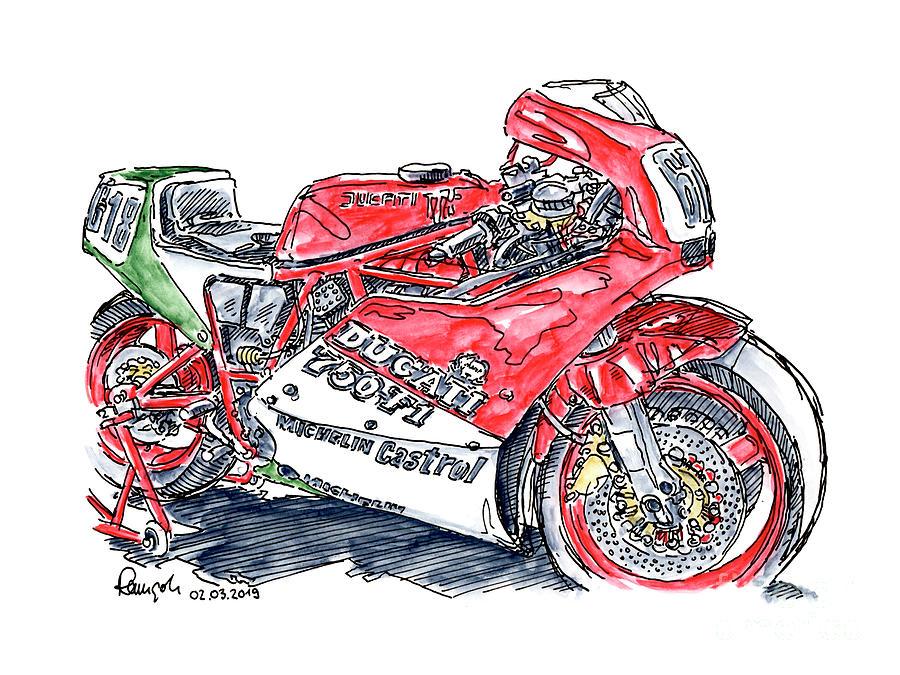 Motorbike Drawing - Ducati 750 F1 Racing Motorcycle Ink Drawing and Watercolor by Frank Ramspott