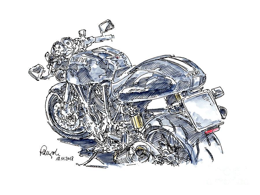 Motorbike Drawing - Ducati Sport Classic 1000 Biposto Motorcycle Ink Drawing and Wat by Frank Ramspott