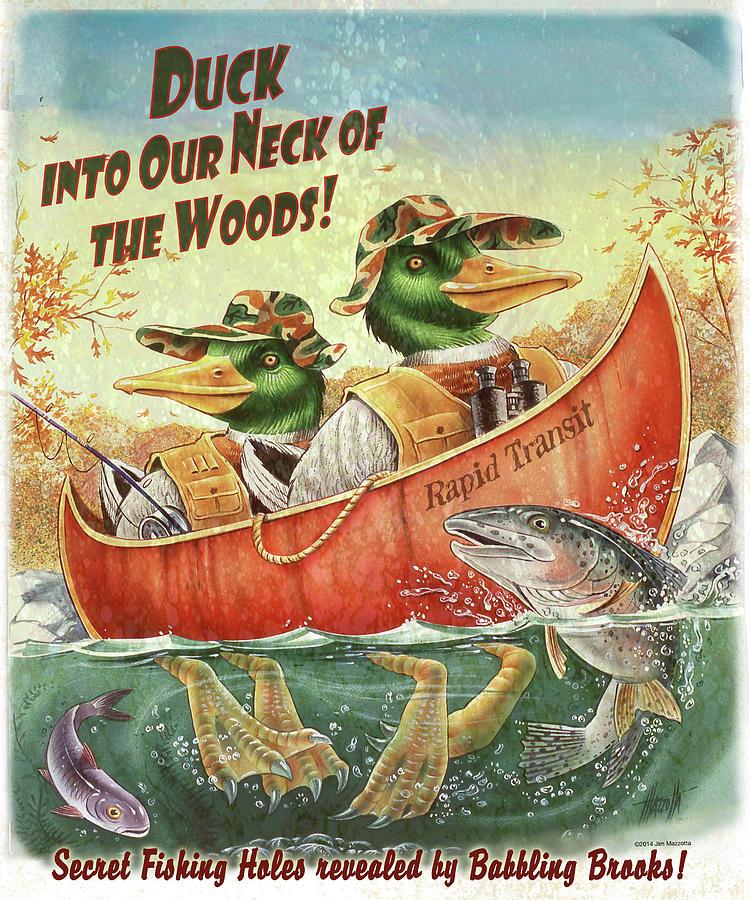 Duck Canoe Painting by James Mazzotta