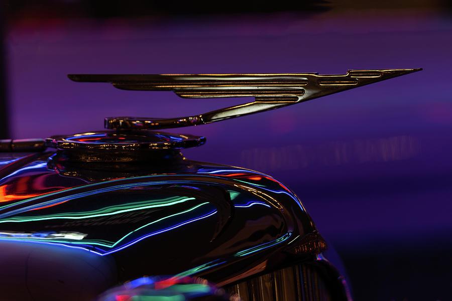 Duesenberg Hood Ornament Neon Reflections by Lauri Novak