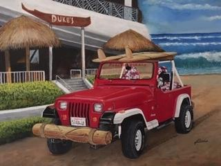 Jeep Painting - Dukes on Sunday by Jim Reale