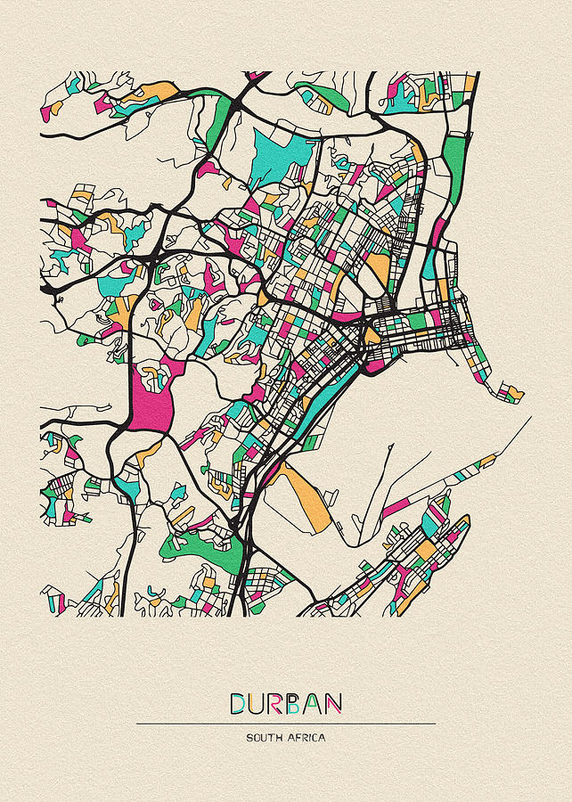 South Africa Drawing - Durban, South Africa City Map by Inspirowl Design