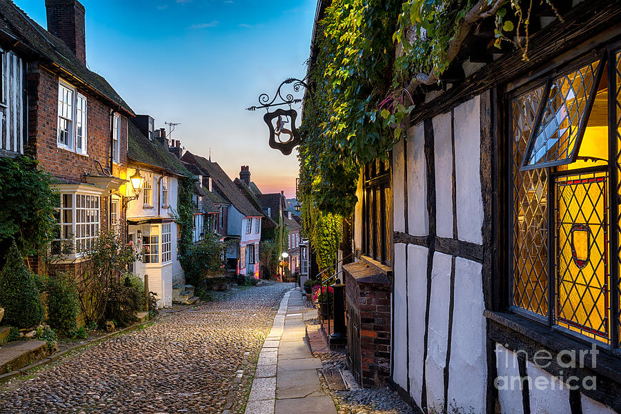 Dusk Photograph - Dusk At A Row Of Beautiful Old Houses by Helen Hotson
