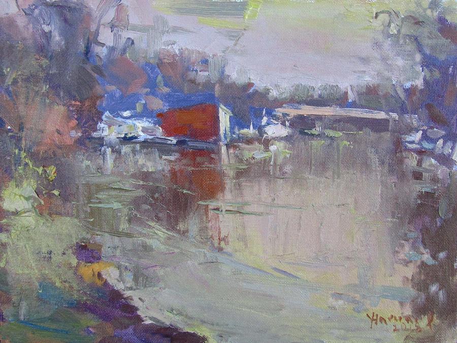 Dusk Painting - Dusk at Tonawanda Canal by Ylli Haruni