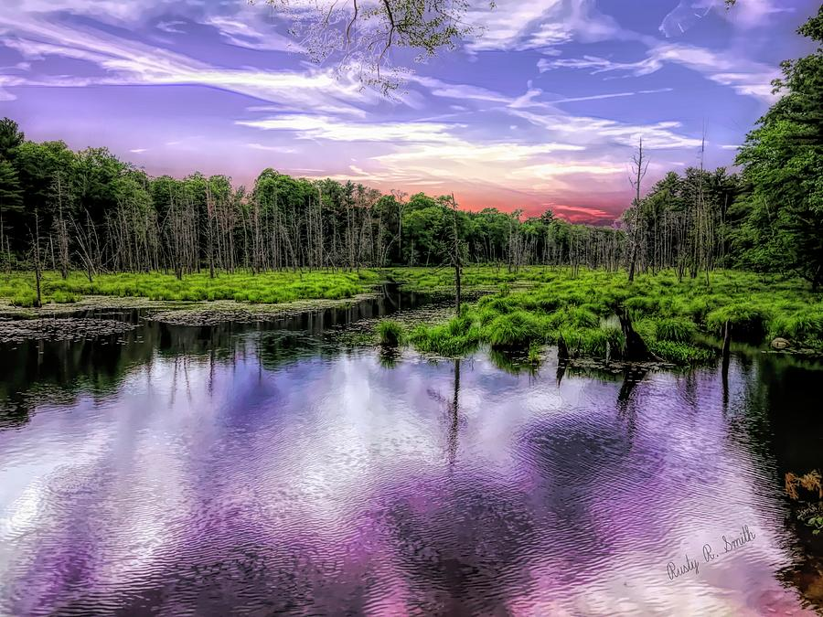 Dusk falls over New England beaver pond. by Rusty R Smith