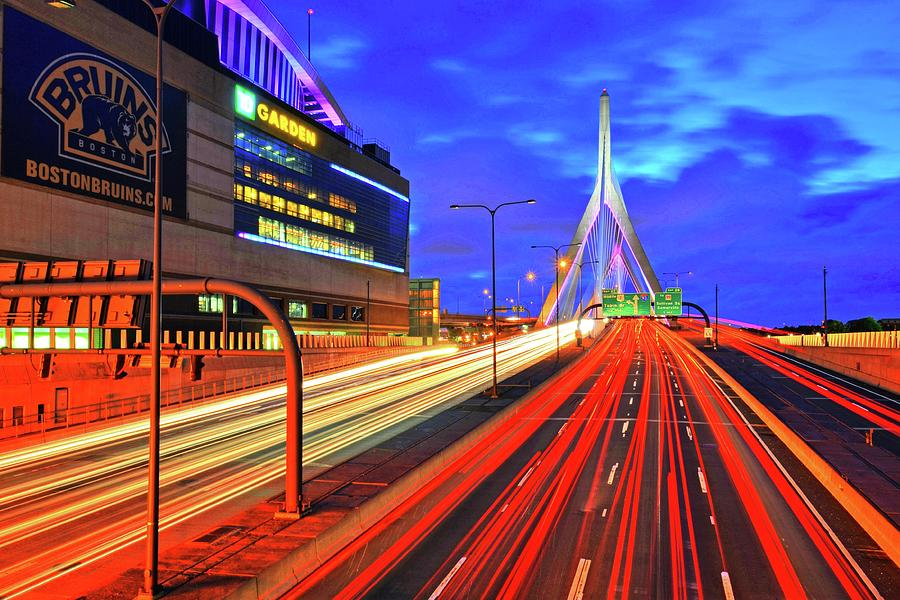 Dusk on the Zakim Bridge Boston MA TD Garden by Toby McGuire