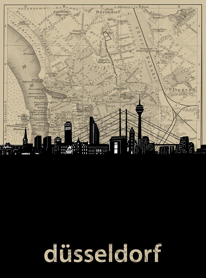 Dusseldorf Digital Art - Dusseldorf Skyline Map by Bekim M