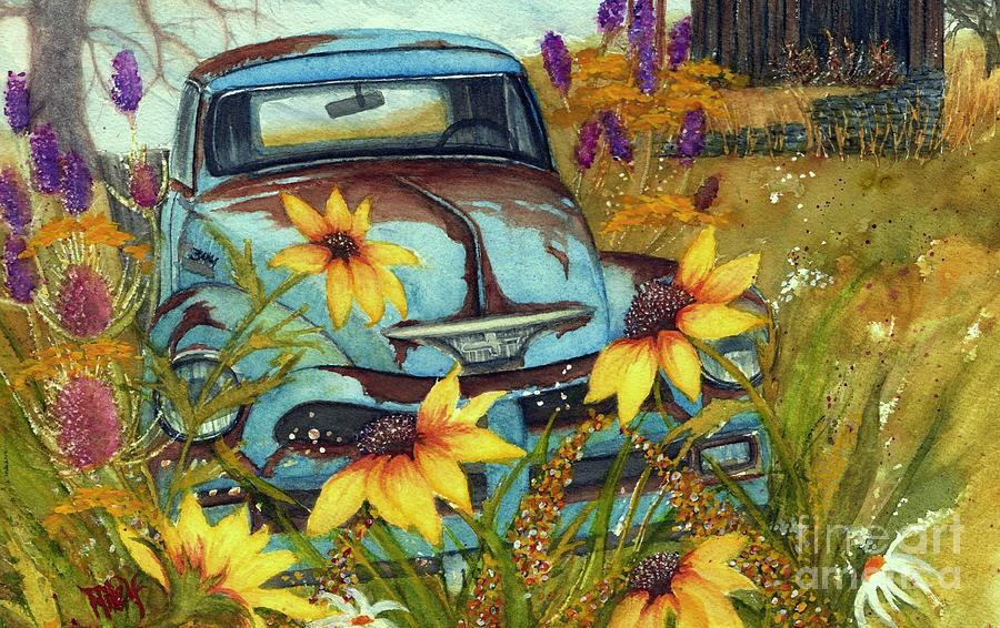 Dusty Blues - Rusty Old Chevy Pick Up Truck  by Janine Riley