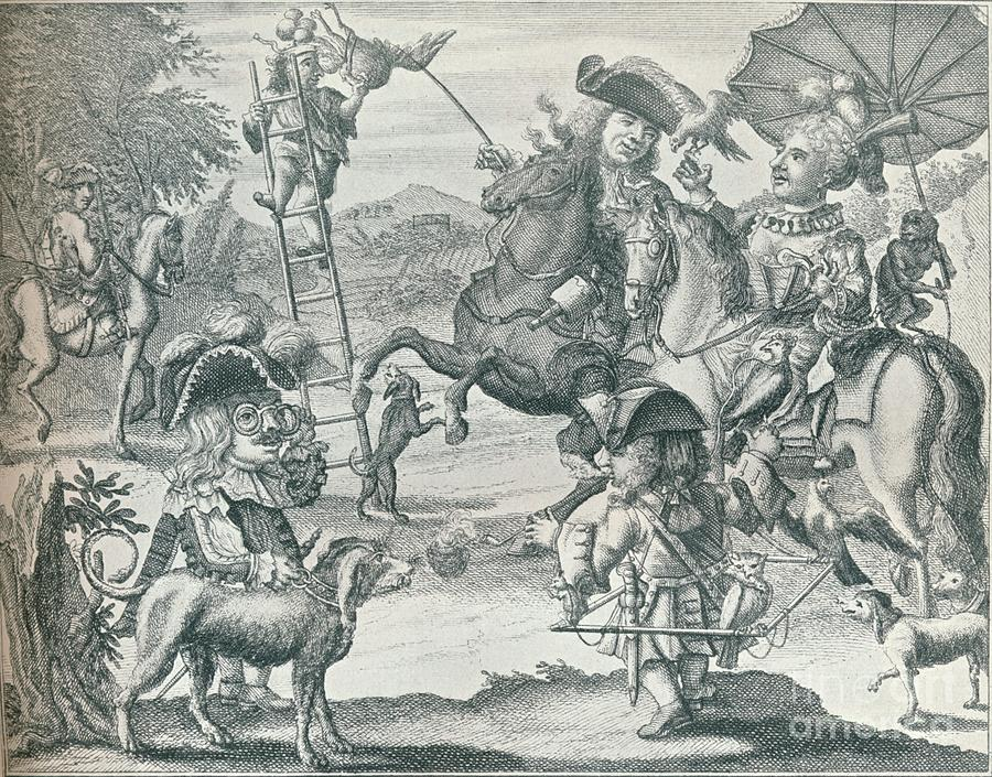 Dutch Skit On Falconry, C1716, 1916 Drawing by Print Collector