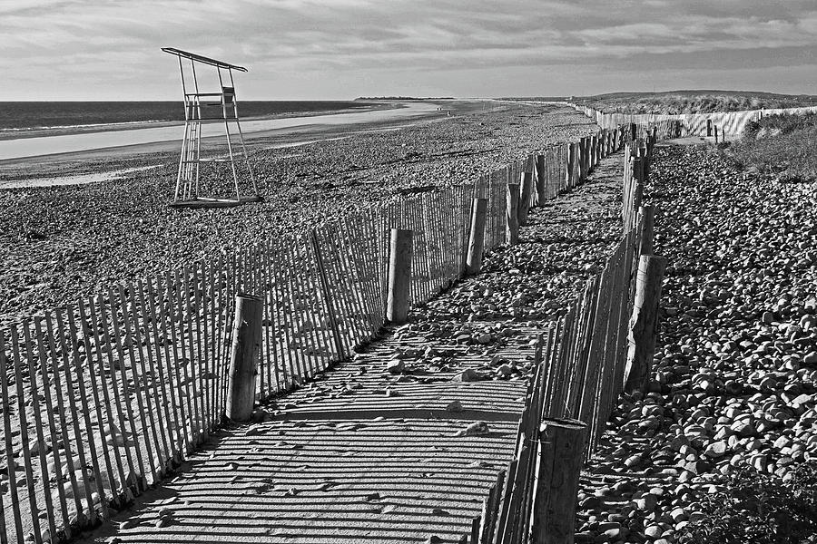 Duxbury MA Beach Fences South Shore Lifeguard Chair Black and White by Toby McGuire