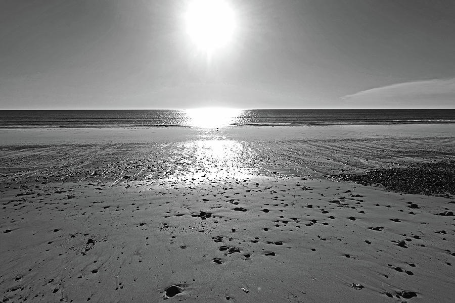 Duxbury MA Beach Sunrise South Shore Blue Water Sun Reflection Black and White by Toby McGuire