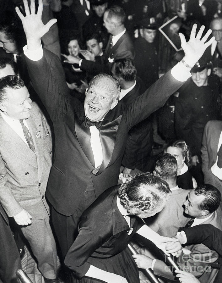 Dwight Eisenhower Raises Arms In Victory Photograph by Bettmann