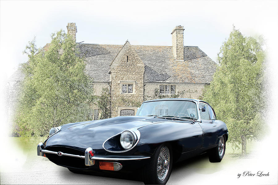 E type Jaguar at Country House by Peter Leech