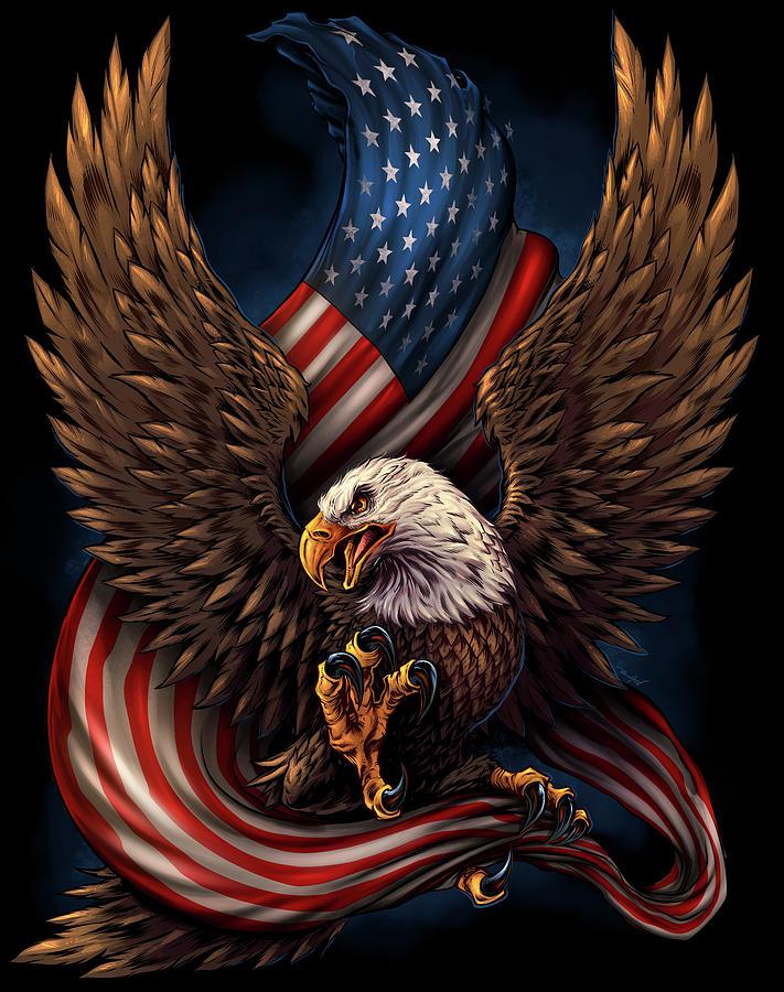 Eagle And Flag Digital Art - Eagle And Flag by Flyland Designs