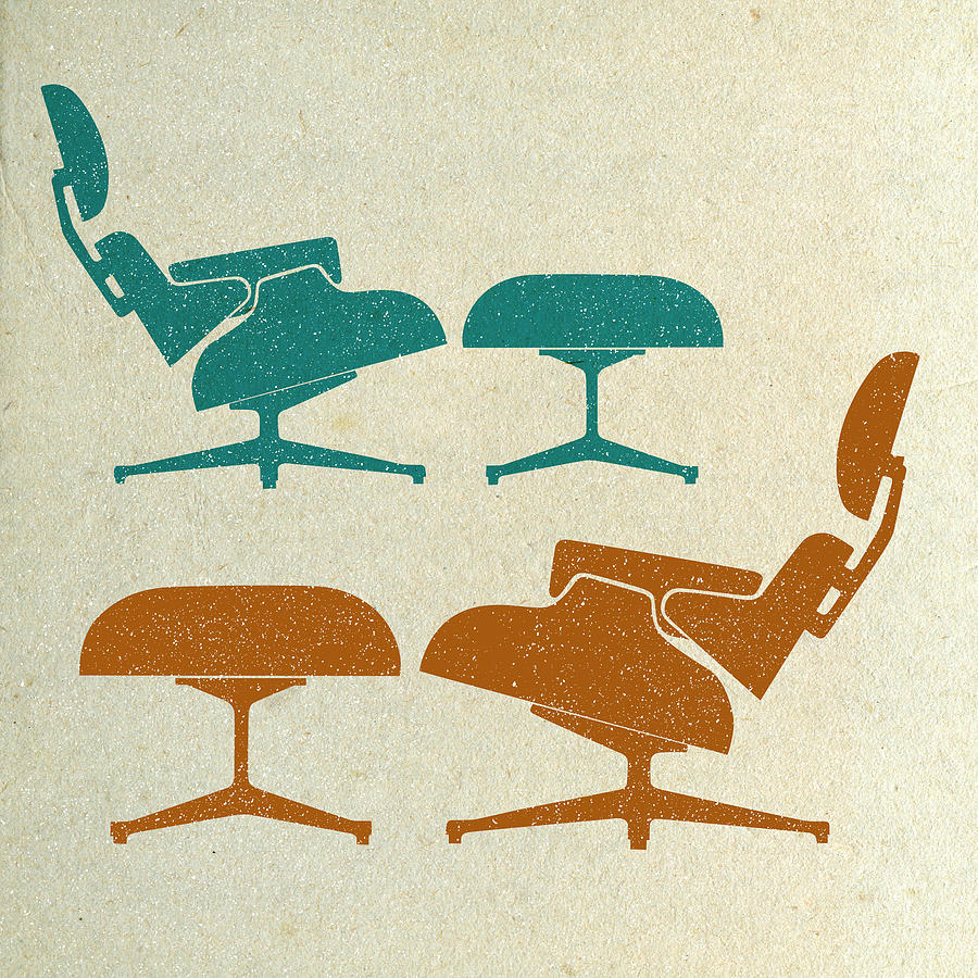 Mid-century Digital Art - Eames Lounge Chairs II by Naxart Studio