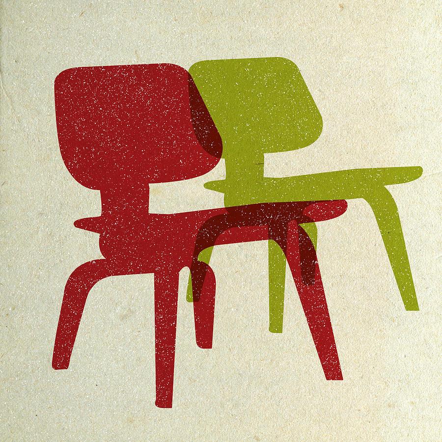 Mid-century Digital Art - Eames Molded Plywood Chairs II by Naxart Studio