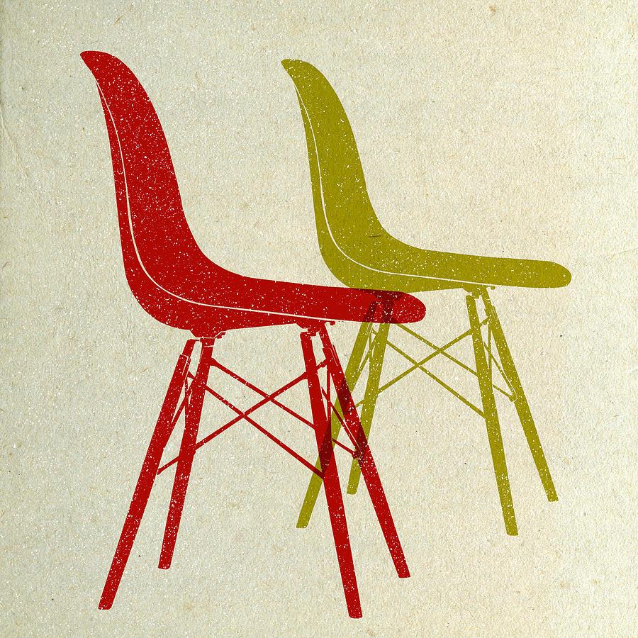 Mid-century Digital Art - Eames Plastic Side Chairs I by Naxart Studio