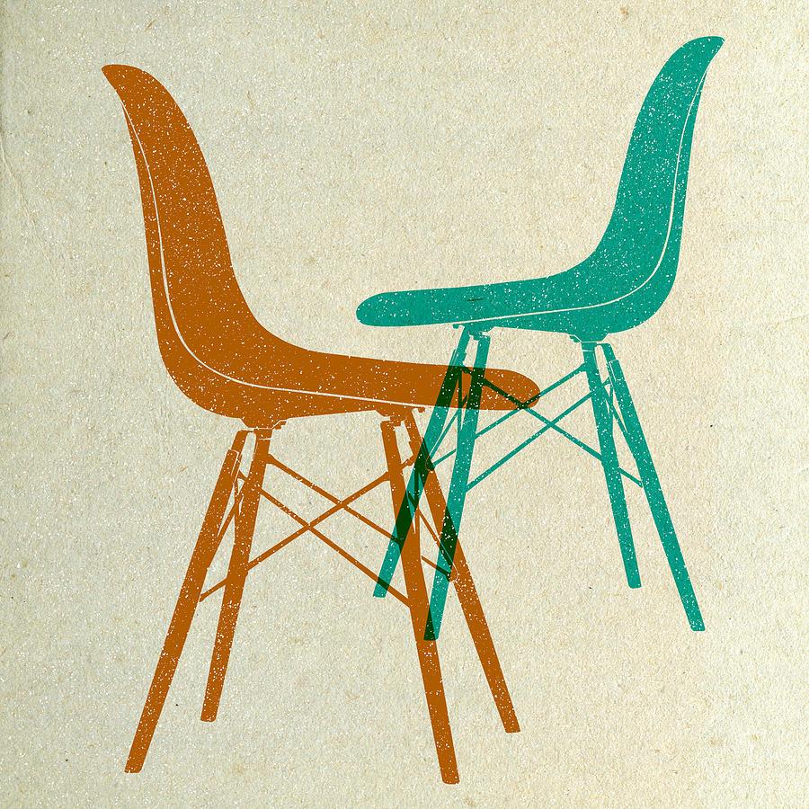 Mid-century Digital Art - Eames Plastic Side Chairs II by Naxart Studio