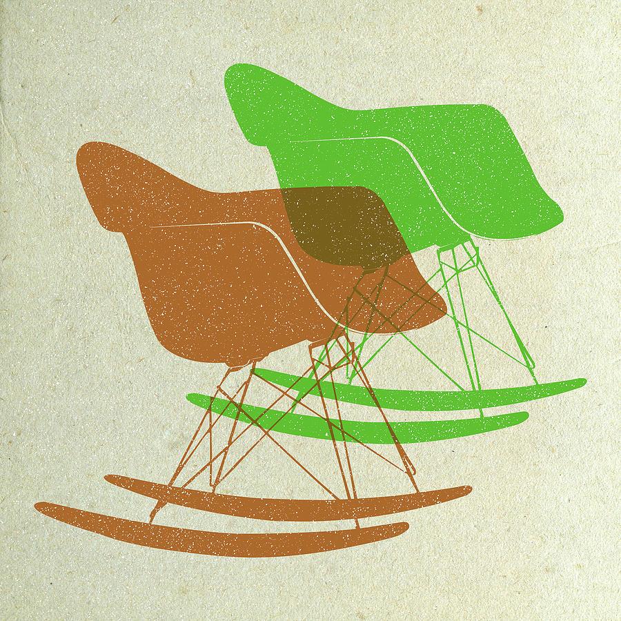 Mid-century Digital Art - Eames Rocking Chairs I by Naxart Studio