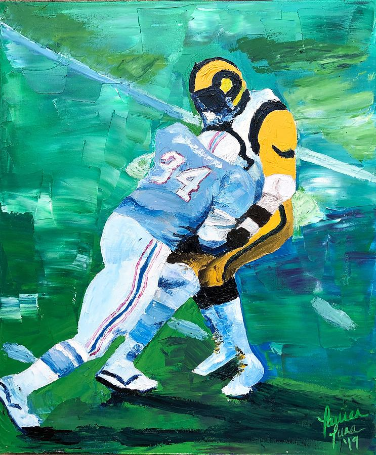 Earl Campbell Painting - Earl Campbell runs over Rams by Lauren Luna